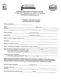 Adams County Builders Association Student Loan Application, building related trades
